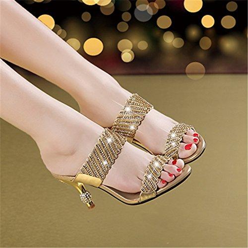 AWXJX Saison d'été Tongs Femme Chaussures Diamant artificiel Open toe talon haut avec fines résistantes à l'usure lumière antidérapant Golden 7.5 US/38 EU/5 UK fSY22b