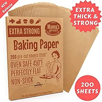 Extra Strong Unbleached Parchment Paper Sheets for Half Sheet Pans 12x16 (200) Pre Cut Oven Baking Paper Sheets. Double Side Silicone Coated Parchment Paper for Baking. Great Cookie Sheet Liner.