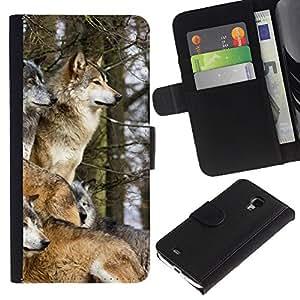 KingStore / Leather Etui en cuir / Samsung Galaxy S4 Mini i9190 / Manada de lobos de Invierno caninos Animales Naturaleza