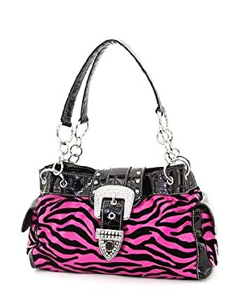 Amazon.com: Hot Pink & Black Velvet Zebra Rhinestone Buckle Purse ...
