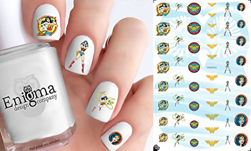 Classic Wonder Woman Nail Decals (Set of 52 | Clear Water-slide) -