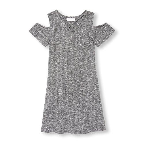 - The Children's Place Big Girls' Short Sleeve Knit Dress, Heather/T Eclipse, XL (14)