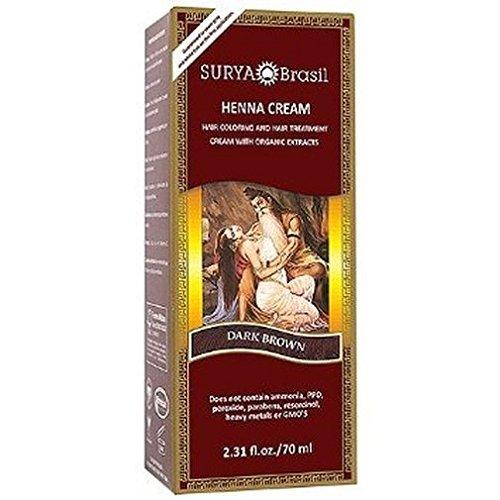 Surya Henna Henna Cream High-Performance Healthy Hair Color for Grey Coverage Dark Brown 2 37 fl oz 70 - Brown Grey