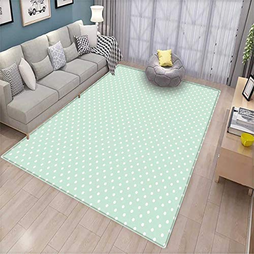 (Green Customize Door mats for Home Mat Retro Style Baby Nursery Themed Pattern with Little White Polka Dots Pastel Door Mat Outside Mint Green White)