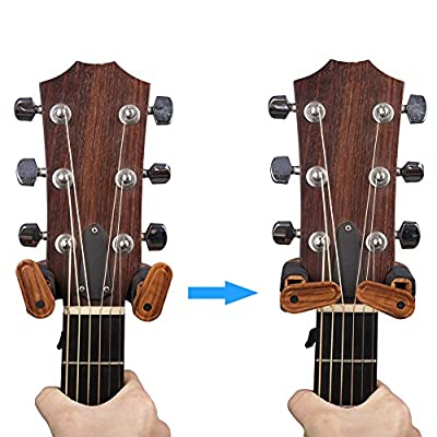 PUNK Guitar Wall Hanger Auto Lock Safety Wooden Wall Mount Holder, Classical, Electric, Acoustic, Guitar Bass Hanger