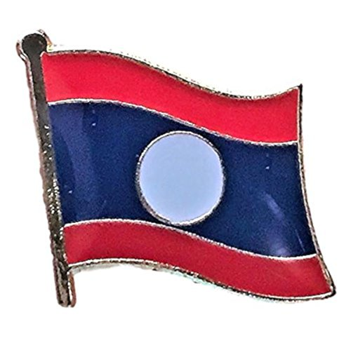 "Backwoods Barnaby Laos Flag Lapel Pin/International Asian Travel Pins Collection (0.75"" x 0.75"")"