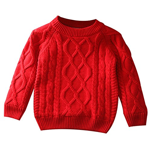 Toddler Baby Boy Girl Cable Knit Pullover Sweater Warm Sweatshirt red 100 (Girls Sweaters Pullover)