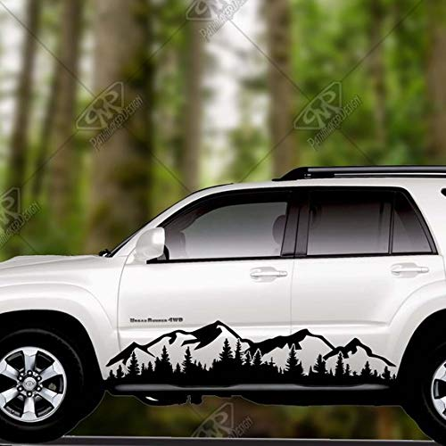 "Maple Enterprise Hiking Hike Mountains And Trees Black Vinyl Decal Sticker For Car Sides Doors Rear Window Bonnet Bumper Set Of 2 (24"") by Maple Enterprise"
