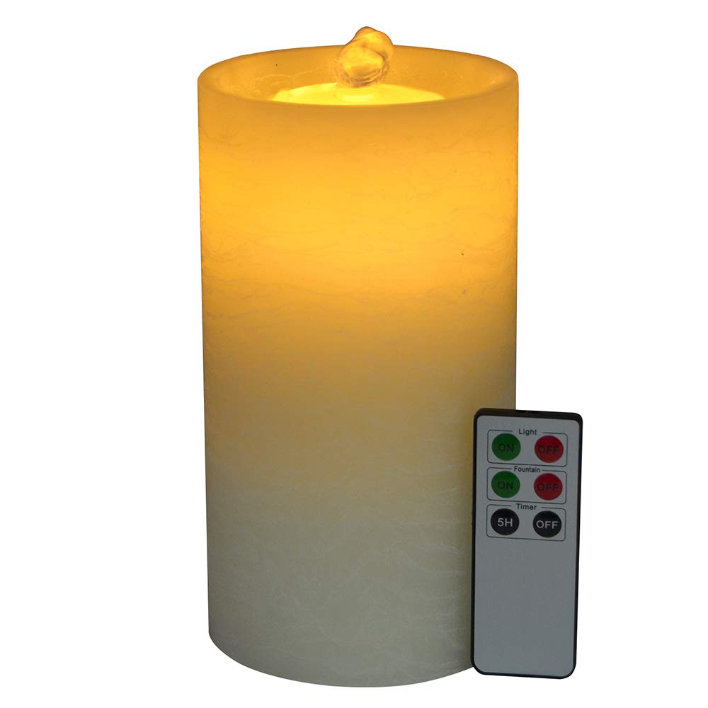 NIGHTKEY Dancing Water Wick Fountain LED Rechargeable Real Wax Flameless Pillar Candle with Remote Control and 5 Hour Timer, Ivory, Flat top(1 pc)