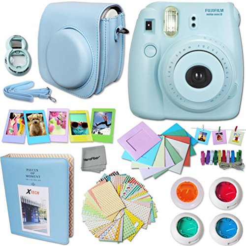 FujiFilm Instax Mini 8 Camera + Accessories KIT for Fujifilm Instax Mini 8 Camera includes: Custom Mini 8 Case w/ Strap + Assorted Frames + Photo Album + 4 Color Filters + Selfie Mirror + MOR
