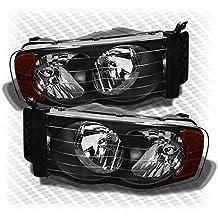 For 2002-2005 Dodge Ram Black Headlights Amber Corner Head Lights Lamp Set Pair Left+Right 2003 2004