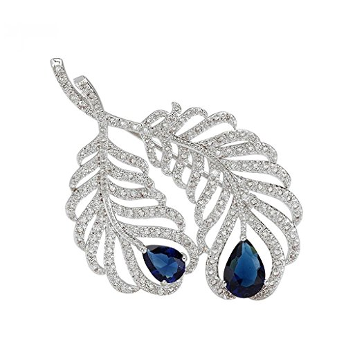 Hollycraft Jewelry Costumes (Beydodo White Gold Plated Brooch Pin For Women Feather Plume Blue AAA Cubic Zirconia, Water Drop Shape)