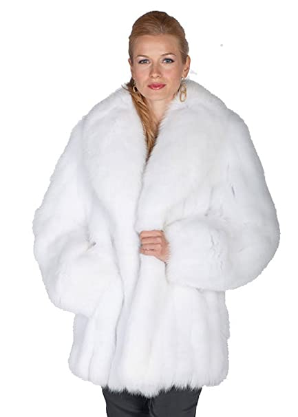 Madison Avenue Mall White Fox Fur Jacket -Real Fur Shawl Collar For Women -Sz8 5189be5cd