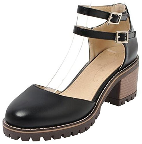 Mofri Women's Casual Buckle Double Strap Round Toe Stacked Block Medium Heel Platform Sandals (Black, 9 B(M) US) (Toe Stack Round Heel Pumps)