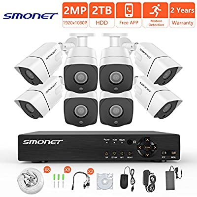 [FULL HD]Security Camera System 1080P,SMONET 8 Channel 5-in-1 HD DVR Camera System(2TB Hard Drive),8pcs 2MP Weatherproof Security Cameras,Super Night Vision,Free APP,Remote View,Motion Detection,P2P from SMONET