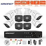 [FULL HD] 1080P Wired Security Camera System,SMONET 8 Channel 2MP Outdoor/Indoor Surveillance System with 2TB HDD(AHD CCTV DVR Kits), 8pcs Weatherproof Security Cameras,Nigth Vision,P2P, Remote View