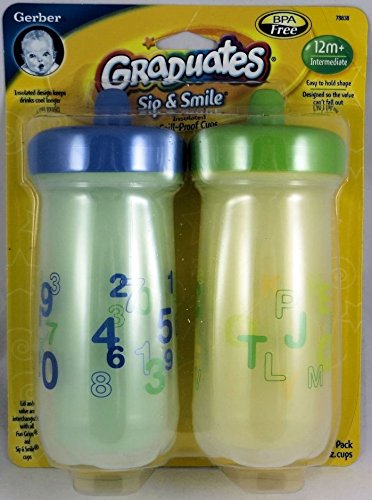 Gerber Graduates BPA Free Sip & Smile Insulated Spill-Proof Cup, 9 Ounce, 2 Count (Blue & Green)