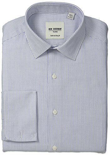 Herringbone Stripe Dress Shirt (Ben Sherman Men's Slim Fit Stripe Spread Collar Dress Shirt with French Cuffs, Blue, 18