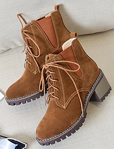 Aisun Women's Casual Comfy Lace Up Round Toe Booties Mid Stacked Heel Ankle High Boots - stylishcombatboots.com