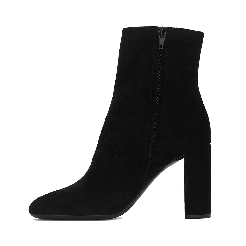 - Booties, Thick and Suede Boots (Black),42