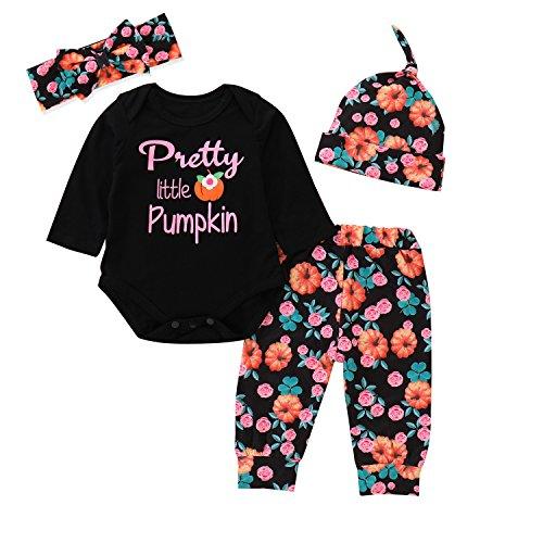 Baby Girl Pretty Little Pumpkin Romper + Pumpkin Clover Floral Printed Pants + Headband + Hat Halloween Outfit Set (0-6 Months, Black) -