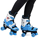 Girls Boys Roller Skates Adjustable Kids Quad Boots Skating XR-1 (Blue, UK 10-12)
