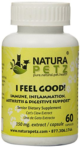 Natura Petz I Feel Good! Immune, Inflammation, Arthritis and Digestive Support for Senior Pets, 60 Capsules Extract, 150mg Per Capsule by Natura Petz