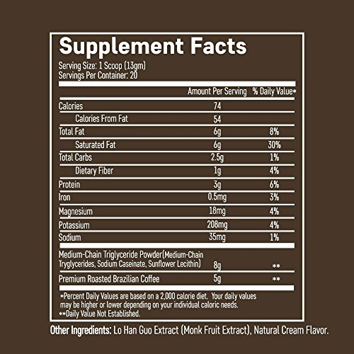 Keto Coffee – Instant Fat Drink for Ketogenic Diet – 8g of MCTs per Serving to Boost Ketone Production, Energy…