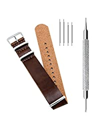 CIVO PU Leather NATO Zulu Military G10 Watch Band Strap 18mm 20mm 22mm with TOP Spring Bar Tool and Spring Bars Bonus (Dark Brown, 20mm)