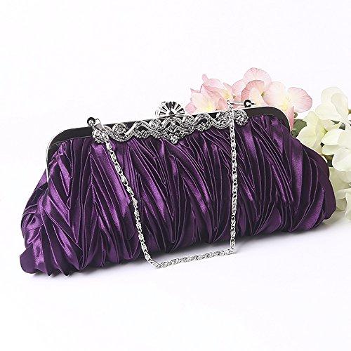 Women's QZUnique Bag Clutch Shoulder Handbag Purse Purple Pleated Satin Crystal Evening dPPqBOxn