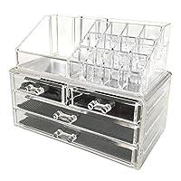 Sodynee Jewelry and Cosmetic Storage - Organizador de maquillaje acrílico de 2 piezas