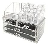 Makeup Vanity Organizer Sodynee Jewelry and Cosmetic Storage  2 Piece Acrylic Makeup Organizer