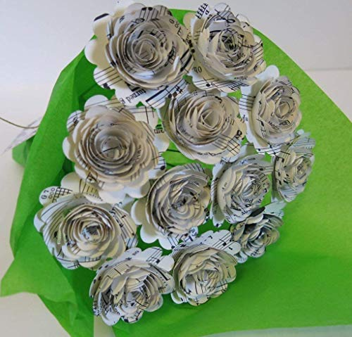 Scalloped Sheet Music Paper Flowers for Centerpiece, Musical Theme Party Decorations, Home Decor Floral Arrangement, 1 Dozen 1.5 Inch Roses with Stems, Music Class Teacher - Vase Bud Scalloped