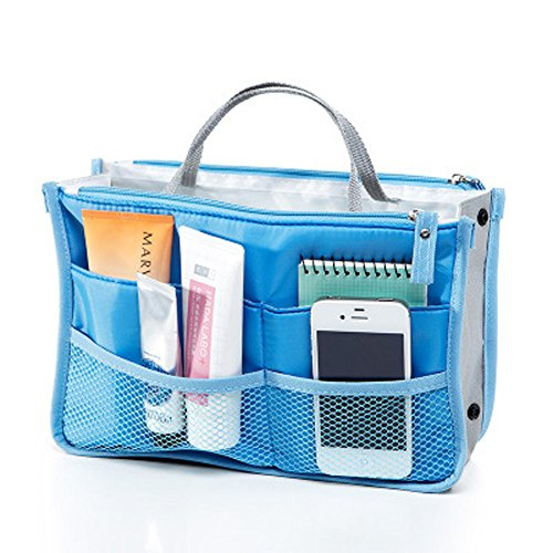 WITERY Travel Essential Bags-in-Bag,Travel Storage Mesh Bag Organiser iPad Case Cosmetic Bag Make-up Beauty Wash Bag Blue