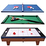 36'' 3-In-1 Multi Game Table Set Switching Air Hockey w/ Tennis and Billiard Pool