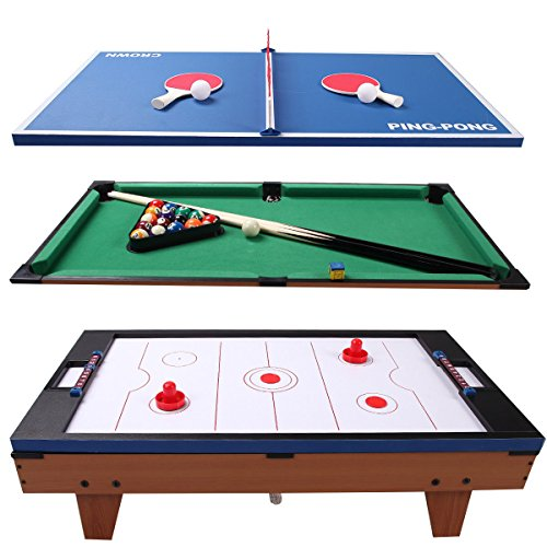 36'' 3-In-1 Multi Game Table Set Switching Air Hockey w/ Tennis and Billiard Pool by FDInspiration