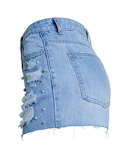 Trousers Courts Jeans LightBleu Shorts Femme Dcontracte Denim Pants f7FtxqPAn