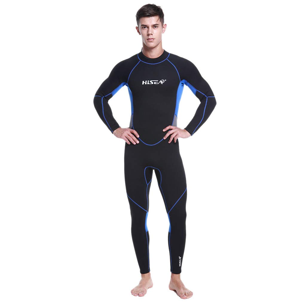 CofeeMO 3mm Full Suit Rash Guard Wetsuit for Men,Long Sleeve Diving Athletic UV Protection Swimwear(Black,XL)