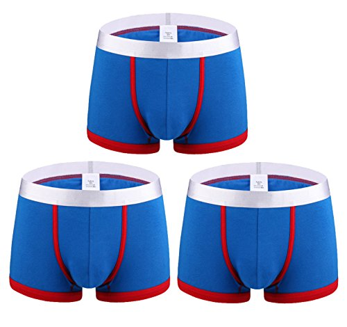 (femaroly Mens Seamless Casual Boxer Briefs Breathable 3-Pack Underwear Lightweight Solid Color Shorts Blue_Red US XL-Tag XXXL Waist:39