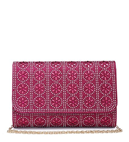 Bag Me68030 Diamante Women's Party Handbag Fuchsia Ladies Glitter Evening Envelope Clutch qOZtf7