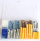 IEUYO 220PCS Drywall Ribbed Anchors Assortment with Self-tapping Screws Kit, Plastic Anchor,Self Drilling Screws,Dry Wall Screws,8Sizes