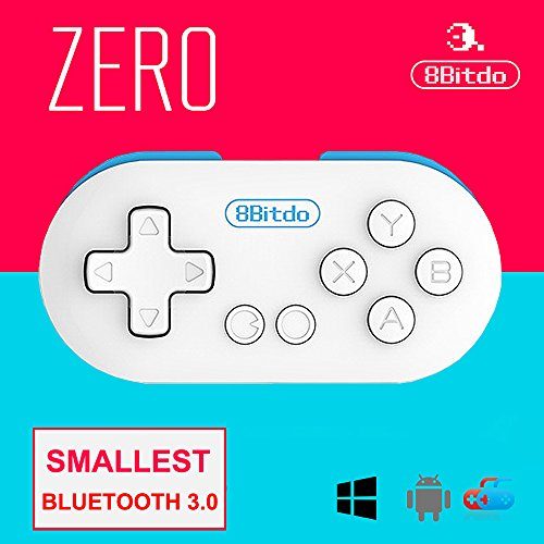 8Bitdo FC ZERO Smallest Wireless GamePad Mini Bluetooth Game Controller for Android/ iOS/ Windows/Mac OS (Blue)