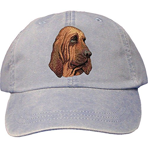 Bloodhound Dog Breed - Cherrybrook Dog Breed Embroidered Adams Cotton Twill Caps - Periwinkle - Bloodhound