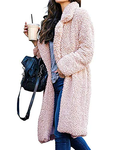(ZHENWEI Women's Fashion Long Sleeve Lapel Faux Shearling Shaggy Oversized Coat Jacket Warm Pink-M)