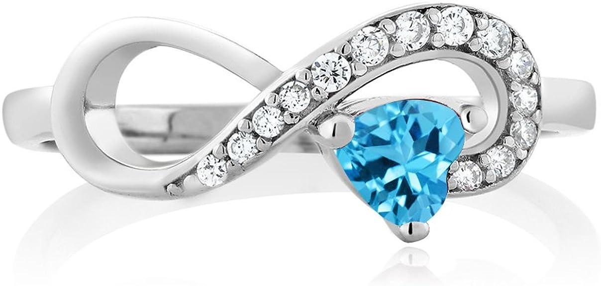 Amazon Com Gem Stone King Anillo De Plata De Ley 925 Con Topacio Azul Suizo Para Mujer 0 44 Cttw 0 157 In Centro De Forma De Corazón Disponible 5 6 7 8 9 Jewelry