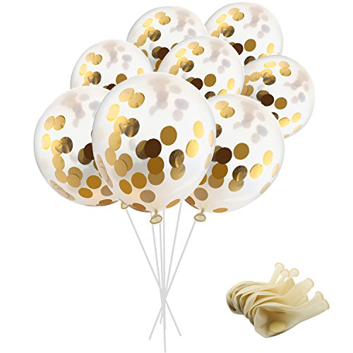SOTOGO 15 Pieces Gold Confetti Balloons 12 Inches Party Balloons with Golden Paper Confetti Dots(Confetti Has Been Put Into The Balloons) for Party Decorations Wedding Decorations and Proposal ()
