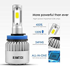 BEAMTECH H11 LED Headlight Bulbs, 6500K 8000 Lumens Extremely Super Bright H8 H9 COB LED Chips Conversion Kit,Xenon White