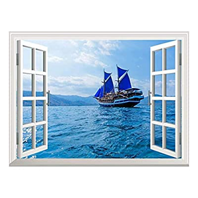 Professional Creation, Astonishing Piece of Art, Removable Wall Sticker Wall Mural Vintage Wooden Ship with Blue Sails Near Komodo Island Indonesia Creative Window View Wall Decor