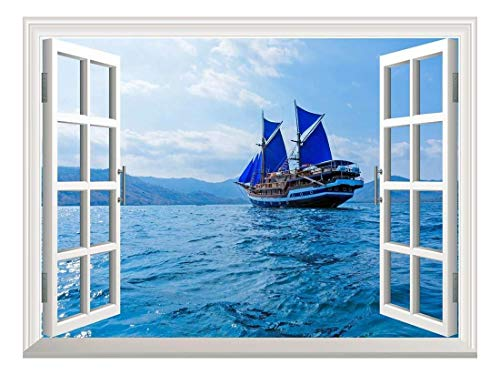 wall26 Removable Wall Sticker/Wall Mural - Vintage Wooden Ship with Blue Sails Near Komodo Island, Indonesia | Creative Window View Home Decor/Wall Decor - ()