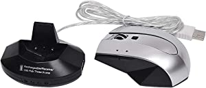 Semoic Mouse Gamer Gaming Mouse Rechargeable 1600DPI Mouse 2.4GH Optical Mouse with Base L0523HUB for Laptop, Multi-Port Ergonomic Mouse(Black + Silver)